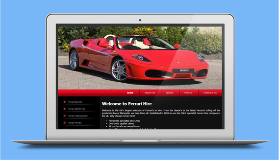 Custom built CMS - Ferrari car hire