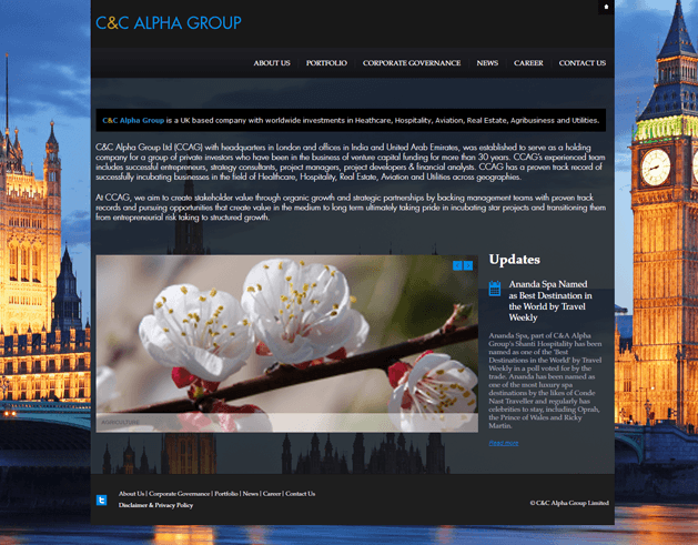 Screenshot of the full CCalpha group homepage