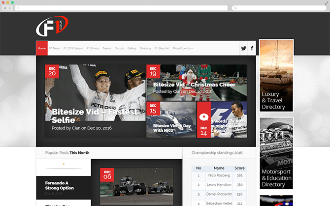 The F1.co.uk website screenshot