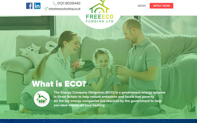 The Free Eco funding website screenshot