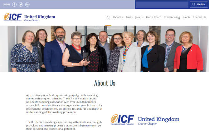 The UK ICF website screenshot