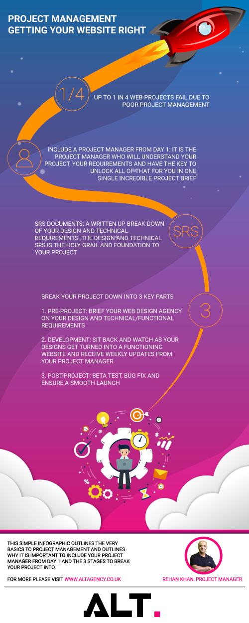web development project management infographic