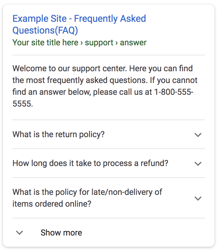 google faq page schema example