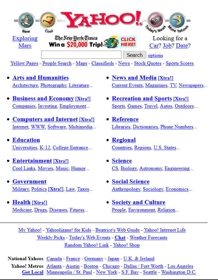yahoo website in late 1990s