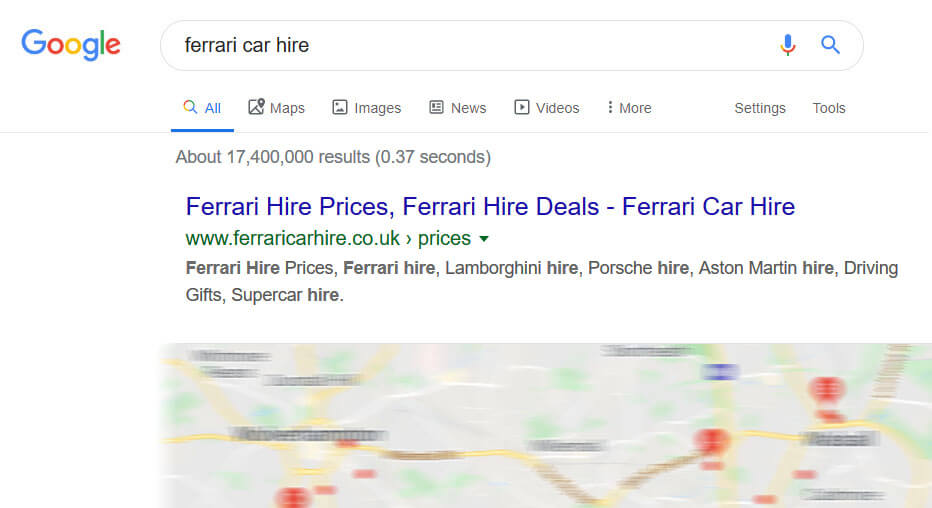 ferrari car hire - seo ranking
