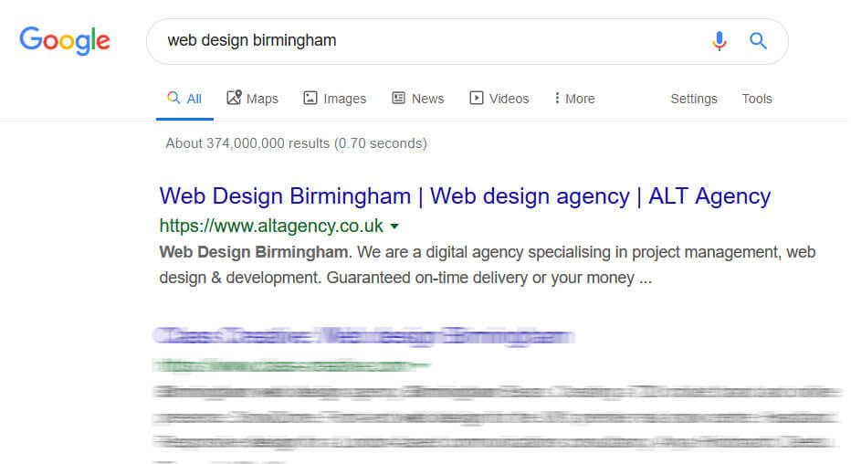 website designer birmingham google search result