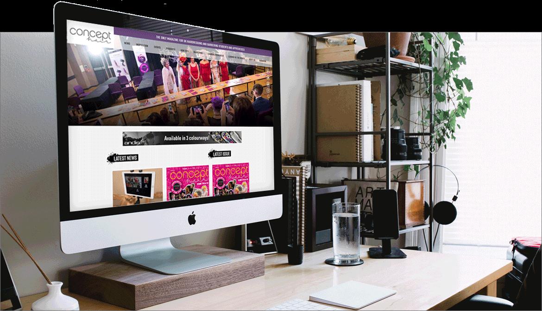 Screenshot of the Concept hair website