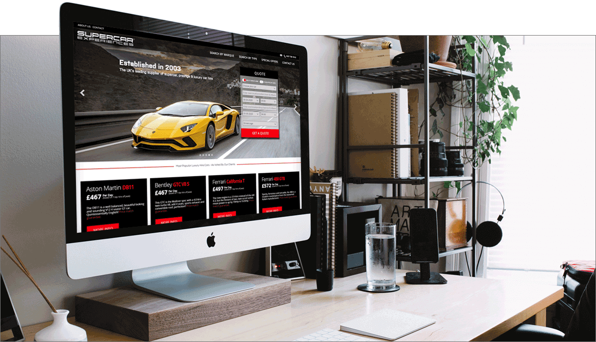 Screenshot of the supercar experiences website