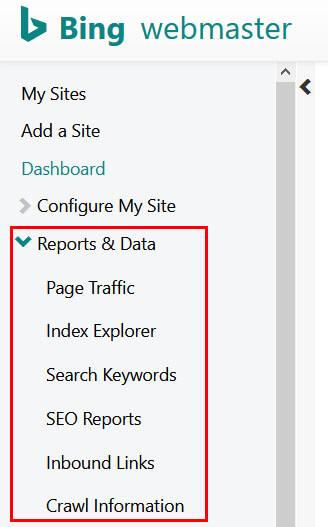 Bing SEO reports