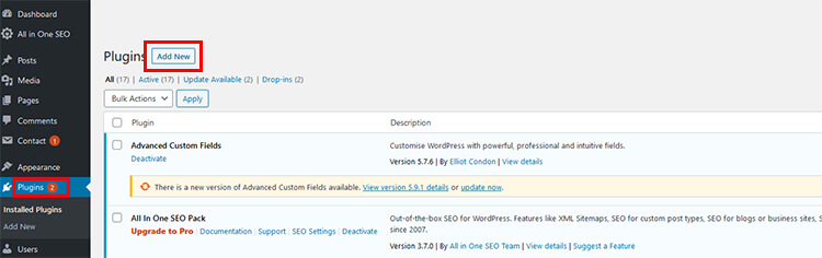 Search and add a plugin through WordPress CMS